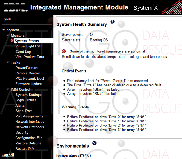 IBM Integrated Management Module System Status Health Critical Warning Events