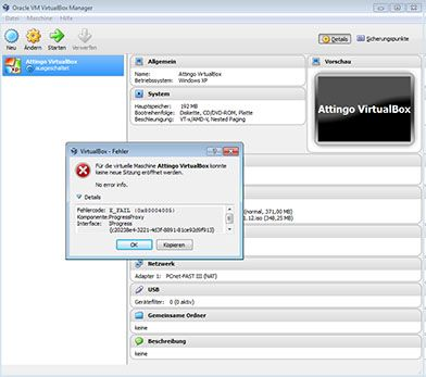 oracle virtualbox manager error