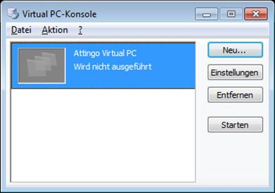 Microsoft Virtual PC Console niet uitgevoerd afbeelding