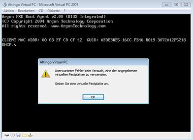 Microsoft Virtual PC Error afbeelding